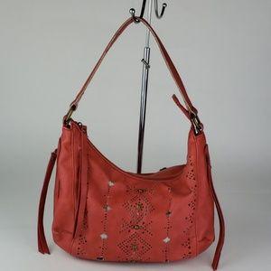 Lucky Brand Hobo Handbag Red Perforated Studded